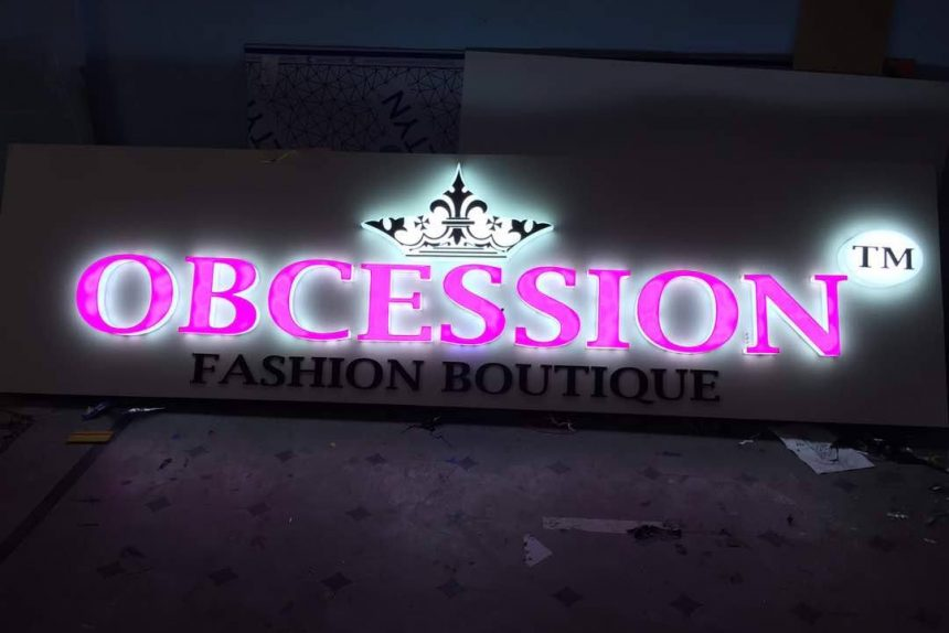 Obcession fashion boutique led signage by raghudigitals
