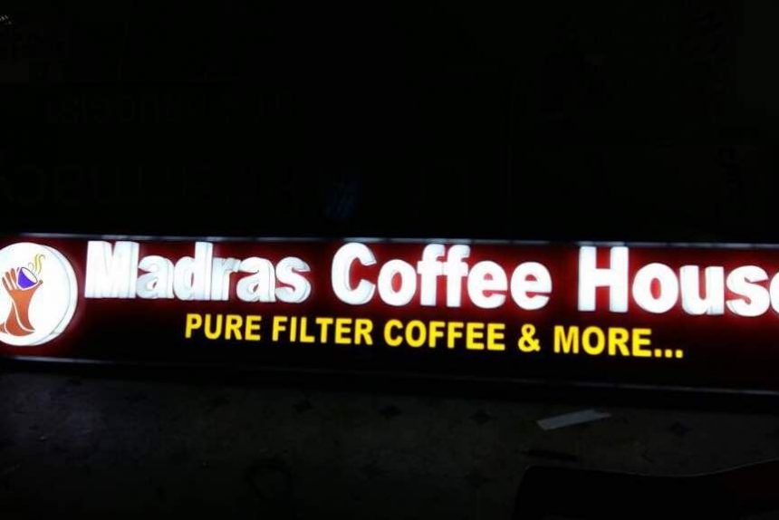 raghudigitals made 3d acrylic led signage for Madras coffee house at DLF hyderabad